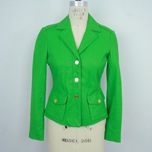 Tory Burch Leather Blazer Jacket Green